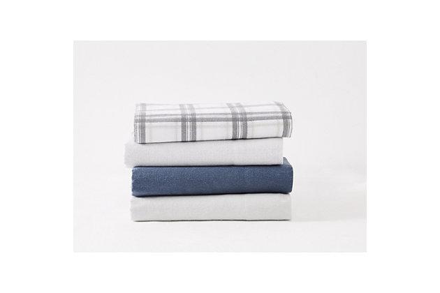 London Fog Solid Queen Flannel Sheet Set, Blue, large