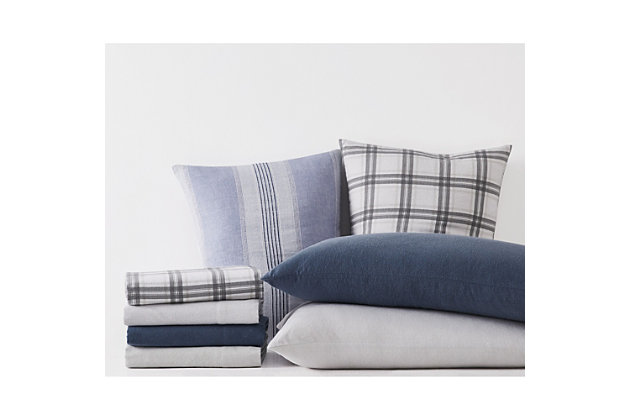 London Fog Plaid Twin Flannel Sheet Set, White/Gray, large