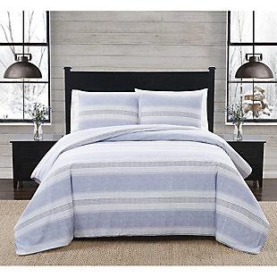 London Fog Stripe Twin XL 2 Piece Flannel Duvet Cover Set, White/Blue, rollover