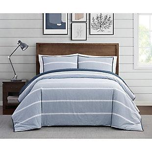 Brooklyn Loom Niari Yarn Dye Stripe 2 Piece Twin/Twin XL Comforter Set, Blue, rollover
