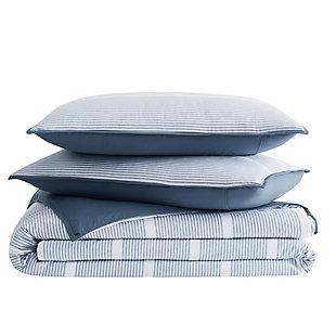 Brooklyn Loom Niari Yarn Dye Stripe 2 Piece Twin/Twin XL Comforter Set, Blue, large