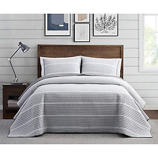 Brooklyn Loom Niari Yarn Dye Stripe 2 Piece Twin/Twin XL Quilt Set, Gray, rollover