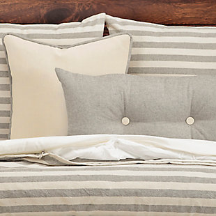 Siscovers Farmhouse Pewter Striped 5 Piece Twin Luxury Duvet Set, Medium Gray, large