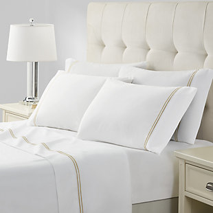 Marquis by Waterford Isadora 6 Piece Queen Sheet Set, White, rollover
