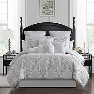 Marquis by Waterford Verina 7 Piece Queen Comforter Set, Silver, rollover