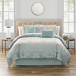 Marquis by Waterford Tierra 7 Piece Queen Comforter Set, Blue, rollover