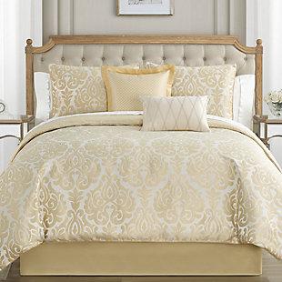 Waterford Bastia Queen Comforter Set, Gold, rollover