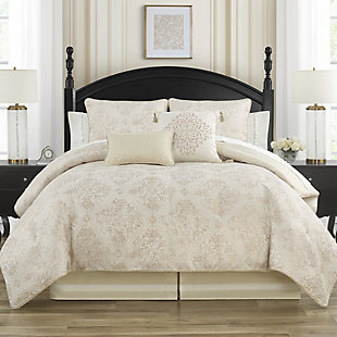 Waterford Paltrow Queen Comforter Set, Blush/Ivory, rollover