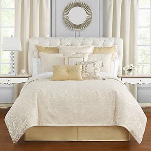 Waterford Valetta Queen 4 Piece Comforter Set, Ivory, rollover