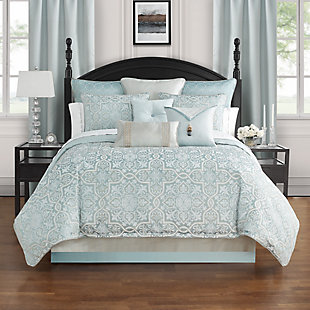 Waterford Arezzo Queen 4 Piece Comforter Set, Blue, rollover