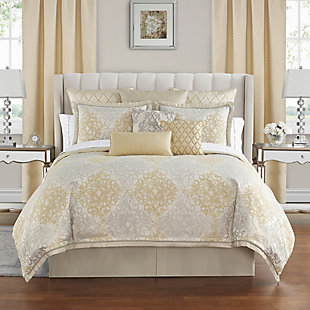 Waterford Wynne Queen Comforter Set, Gold, rollover