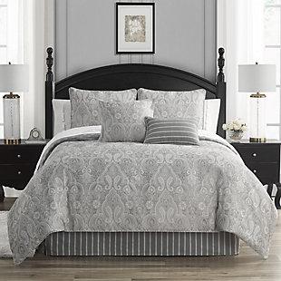 Waterford Catalina Queen 4 Piece Comforter Set, Gray, rollover