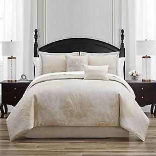 Waterford Ameline Queen 4 Piece Comforter Set, Ivory, rollover