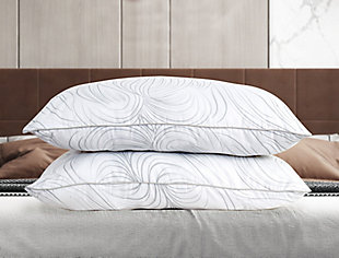 B Smith Traditional Standard Pillow 2 Pack, White, rollover