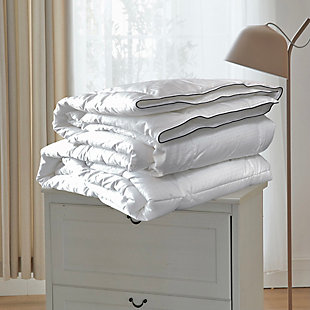 B Smith 400TC Queen Down Alternative ComforterYear Around Weight, White, rollover