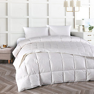 Mini Feather Twin Comforter, White, rollover