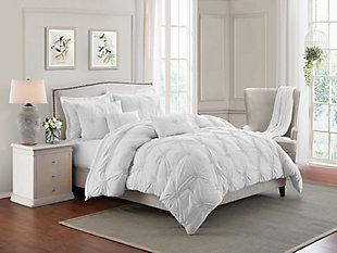 Swift Home Ultra Plush Floral Pintuck Twin Comforter Set, White, rollover