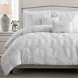 Swift Home Ultra Plush Floral Pintuck Twin Comforter Set, White, large