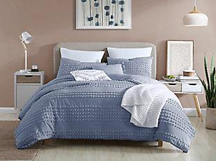Swift Home Marilla 100% Cotton Clip Dot 5 Piece King Comforter Set, Faded Denim, large