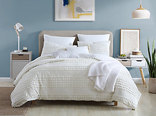 Swift Home Marilla 100% Cotton Clip Dot 5 Piece Full/Queen Comforter Set, Ivory, rollover