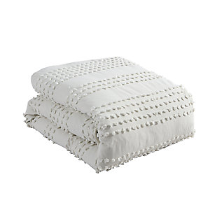Swift Home Marilla 100% Cotton Clip Dot 5 Piece Full/Queen Comforter Set, Ivory, large