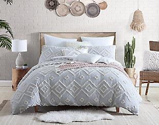 Swift Home Rukai 100% Cotton Jacquard Diamond Clip Gauze 5 Piece Full/Queen Comforter Set, Light Gray, rollover