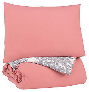 Avaleigh Twin Comforter Set, Pink/White/Gray, large