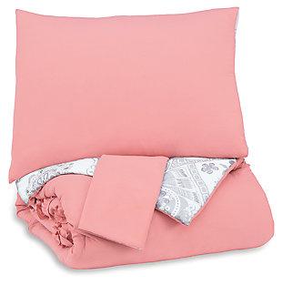 Avaleigh Full Comforter Set, Pink/White/Gray, large