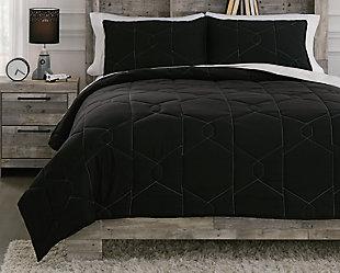 Meliora Full Quilt Set, Black/White/Gray, rollover