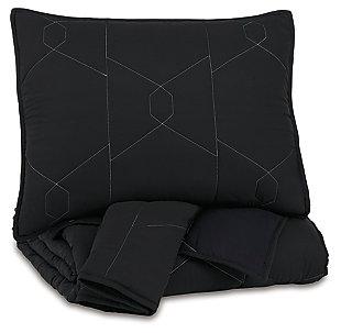 Meliora Full Quilt Set, Black/White/Gray, large