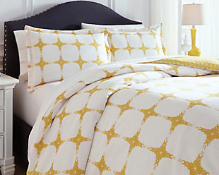 Cyrun 3-Piece Queen Duvet Cover Set, Yellow, rollover