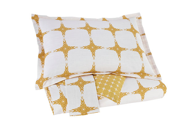 Cyrun 3-Piece Queen Duvet Cover Set, Yellow, large