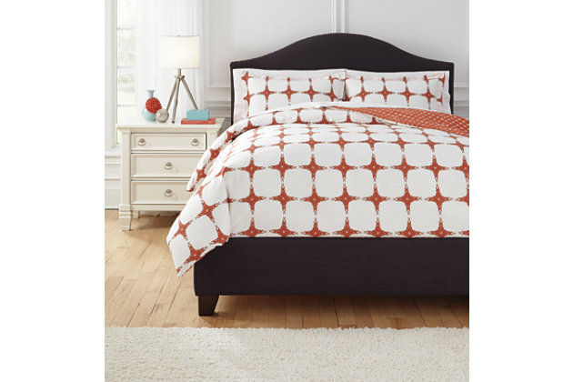Cyrun 3-Piece Full Duvet Cover Set by Ashley HomeStore, Orange, Cotton (100 %)
