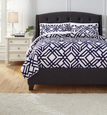 Ashley Imelda 3-Piece King Comforter Set, Navy
