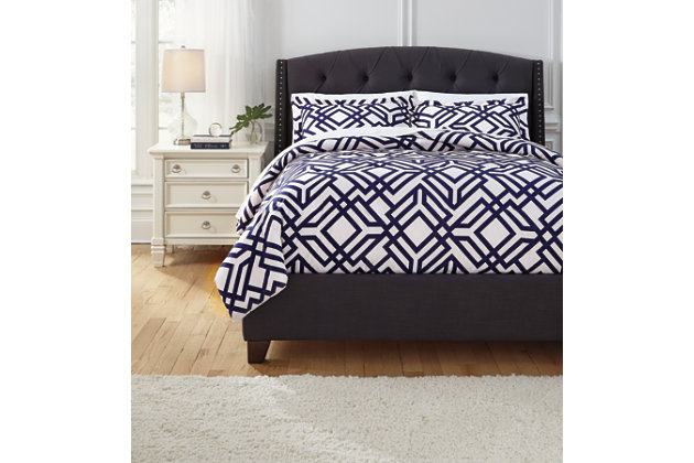 Imelda 3-Piece Queen Comforter Set, Navy, large