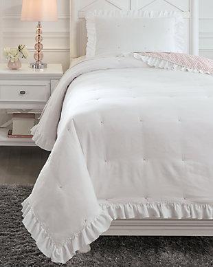 Jenalyn Twin Comforter Set, White/Light Pink, rollover