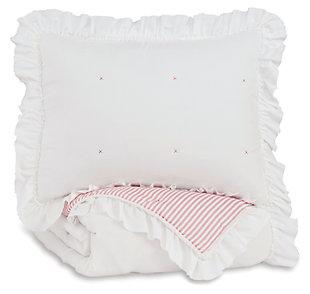 Jenalyn Twin Comforter Set, White/Light Pink, large