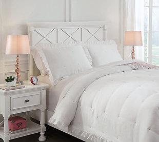 Jenalyn Full Comforter Set, White/Light Pink, large