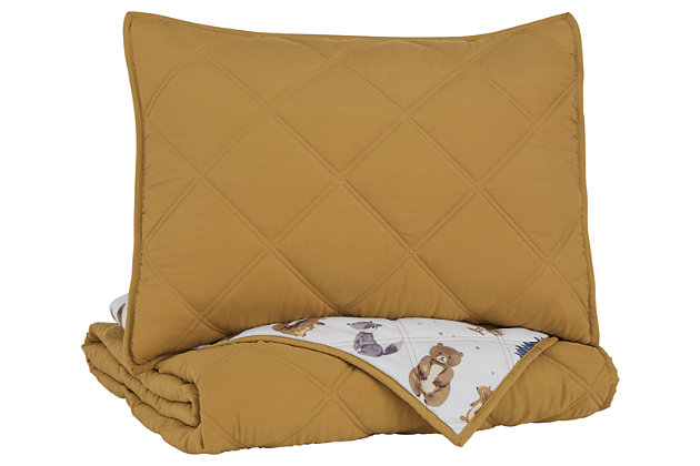 Cooperlen Twin Quilt Set, Golden Brown, large