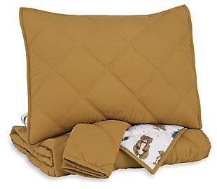 Cooperlen Full Quilt Set, Golden Brown, large