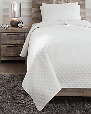 Ryter Twin Coverlet Set, White, rollover