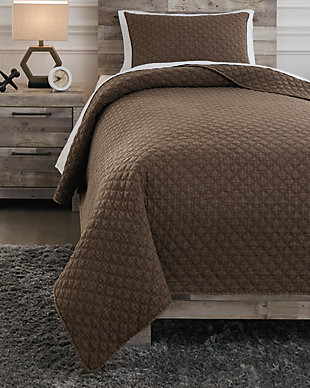 Ryter Twin Coverlet Set, Brown, rollover