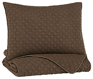 Ryter Twin Coverlet Set, Brown, large