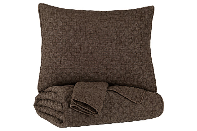 Ryter Queen/Full Coverlet Set, Brown, large