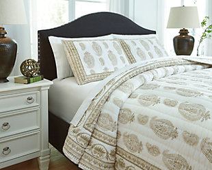 Almeda 3-Piece Queen Coverlet Set, Beige, rollover