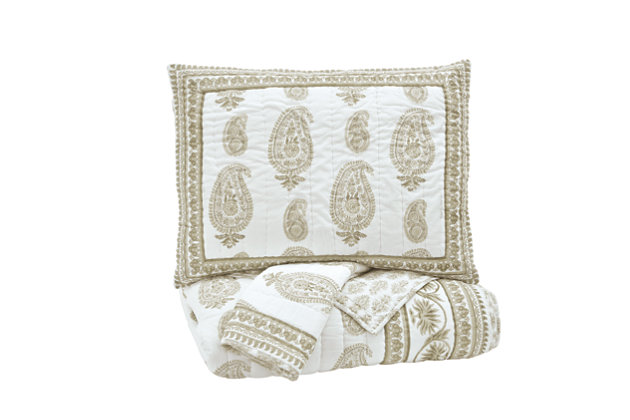 Almeda 3-Piece Queen Coverlet Set, Beige, large