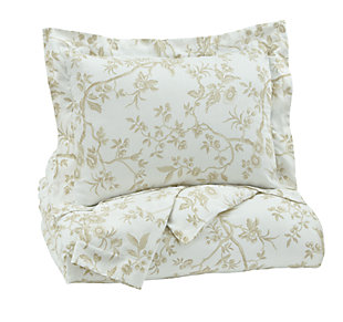 Florina 3-Piece Queen Duvet Cover Set, Natural/White, large