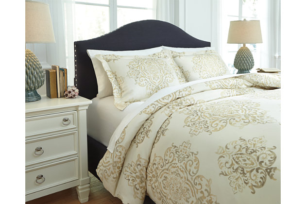 Fairholm 3-Piece Queen Duvet Cover Set by Ashley HomeStore, Tan, Cotton (100 %)