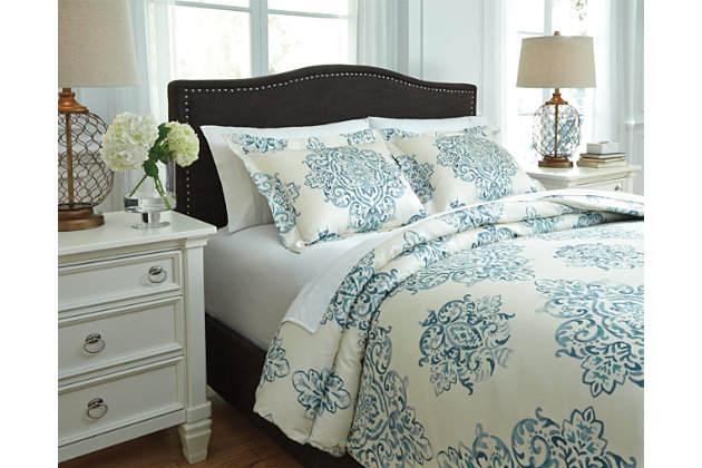 Fairholm 3-Piece King Duvet Cover Set by Ashley HomeStore, Turquoise, Cotton (100 %)