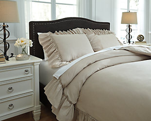 Clarksdale 3-Piece Queen Duvet Cover Set, Natural, rollover